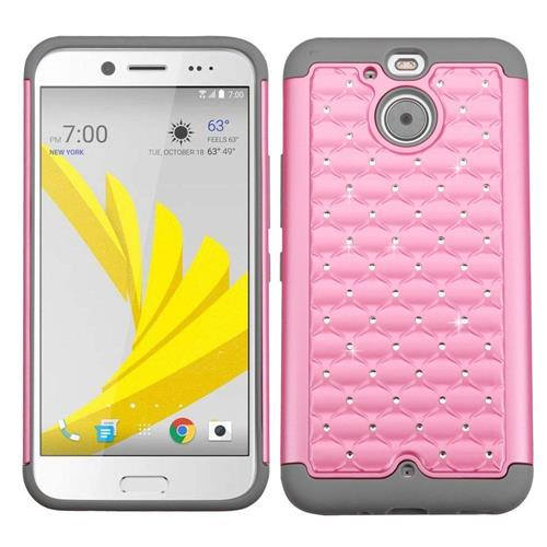 Insten Hard Hybrid Rubber Coated Silicone Cover Case w/Diamond For HTC Bolt, Pink/Gray