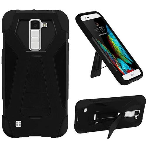Insten Hard Hybrid Plastic Silicone Case w/stand For LG K10, Black