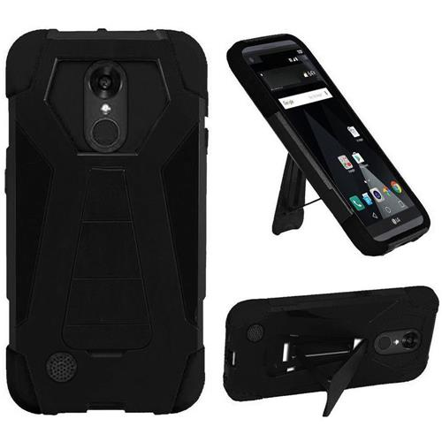 Insten Hard Hybrid Plastic Silicone Case w/stand For LG Aristo/K8 (2017), Black