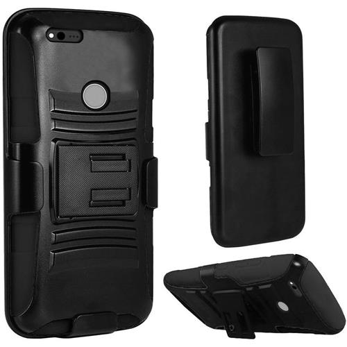 Insten Hard Hybrid Plastic Silicone Cover Case w/stand/Holster For Google Pixel, Black