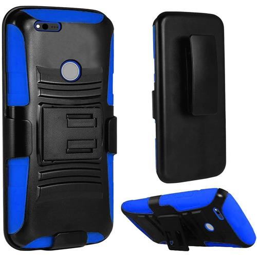 Insten Hard Dual Layer Plastic Silicone Cover Case w/stand/Holster For Google Pixel, Black/Dark blue