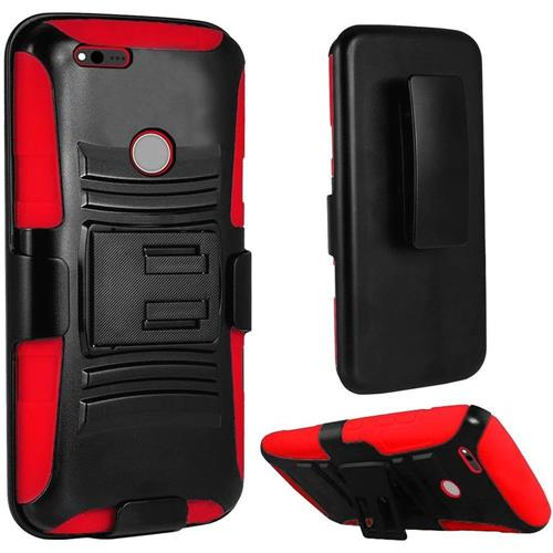 Insten Hard Hybrid Plastic Silicone Cover Case w/stand/Holster For Google Pixel, Black/Red