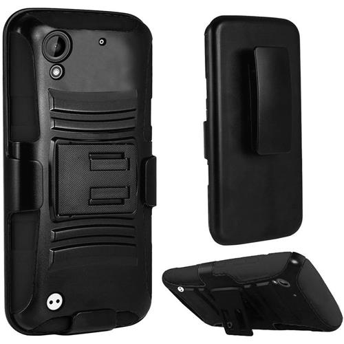 Insten Hard Dual Layer Plastic Silicone Case w/stand/Holster For HTC Desire 530/550/555, Black