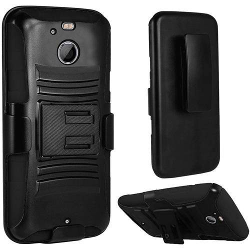 Insten Hard Hybrid Plastic Silicone Cover Case w/Holster For HTC 10/Bolt, Black
