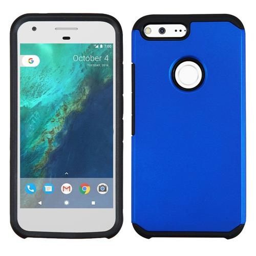 Insten Hard Hybrid Rubber Coated Silicone Case For Google Pixel, Blue/Black