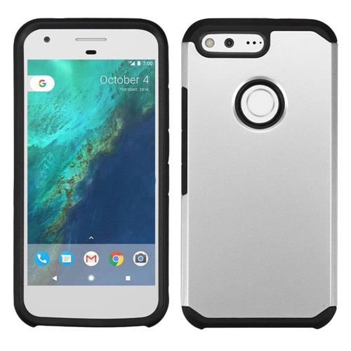 Insten Hard Hybrid Rubberized Silicone Cover Case For Google Pixel, Silver/Black