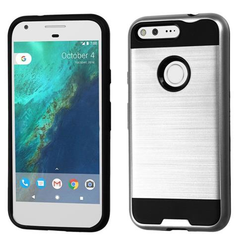 Insten Hard Dual Layer TPU Case For Google Pixel, Silver/Black