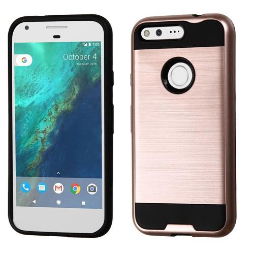 Insten Fitted Soft Shell Case for Google Pixel - Rose Gold/Black