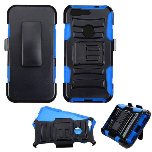 Insten Hard Dual Layer Plastic Silicone Case w/stand/Holster For Google Pixel, Black/Blue