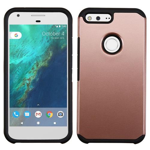 Insten Hard Dual Layer Silicone Cover Case For Google Pixel XL, Rose Gold/Black