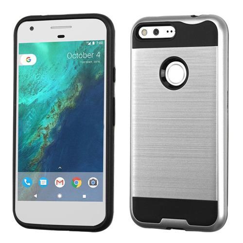 Insten Hard Hybrid TPU Case For Google Pixel XL, Silver/Black