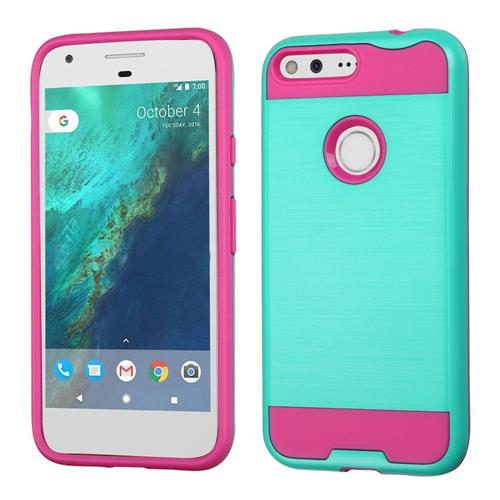 Insten Hard Dual Layer TPU Cover Case For Google Pixel XL, Teal/Hot Pink