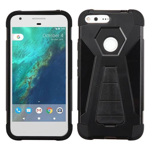 Insten Hard Dual Layer Plastic Silicone Case w/stand For Google Pixel XL, Black