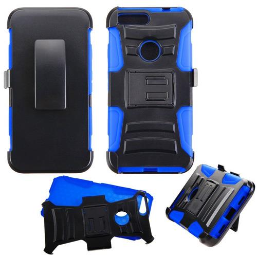 Insten Hard Dual Layer Plastic Silicone Cover Case w/Holster For Google Pixel XL, Black/Blue