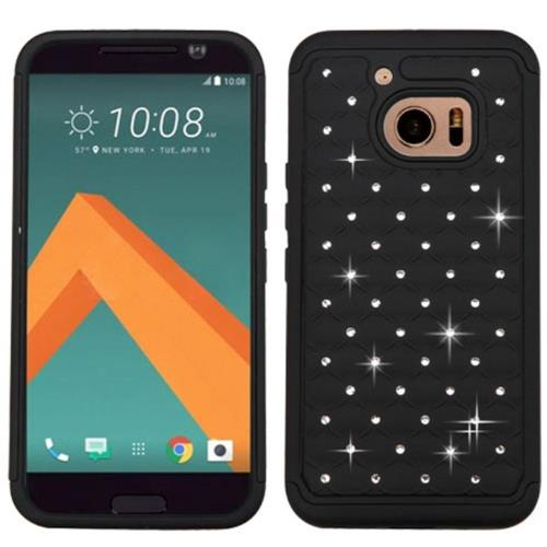 Insten Hard Dual Layer Rubberized Silicone Case w/Diamond For HTC One M10, Black