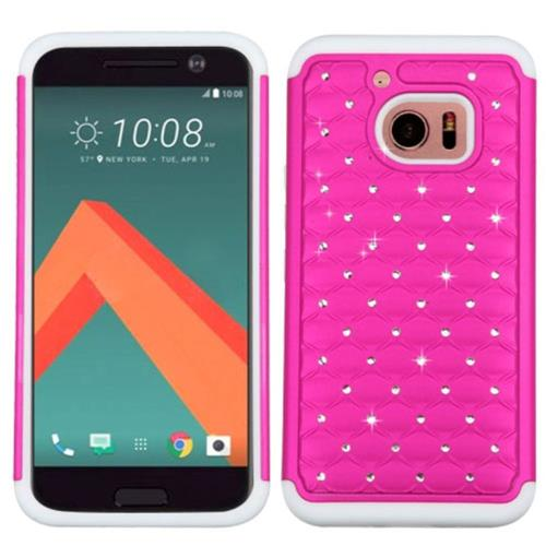 Insten Hard Hybrid Rubber Coated Silicone Case w/Diamond For HTC One M10, Hot Pink/White