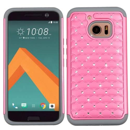 Insten Hard Dual Layer Rubber Coated Silicone Case w/Diamond For HTC One M10, Pink/Gray
