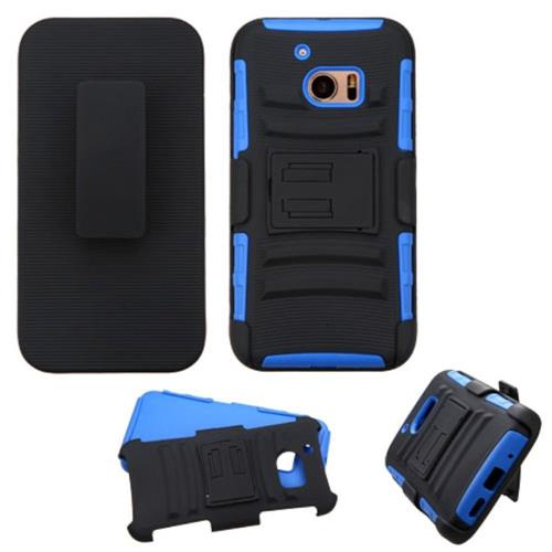 Insten Hard Hybrid Plastic Silicone Cover Case w/Holster For HTC One M10, Black/Blue