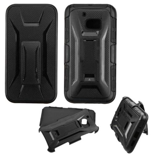 Insten Hard Hybrid Plastic Silicone Case w/Holster For HTC One M10, Black