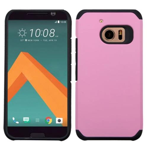 Insten Hard Hybrid Rubber Silicone Cover Case For HTC One M10, Pink/Black