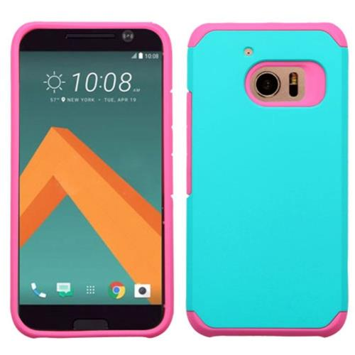 Insten Hard Hybrid Rubber Coated Silicone Case For HTC One M10, Teal/Hot Pink