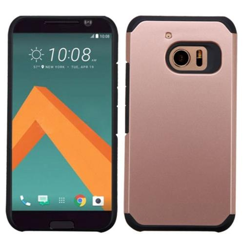 Insten Hard Dual Layer Rubber Coated Silicone Case For HTC One M10, Rose Gold/Black