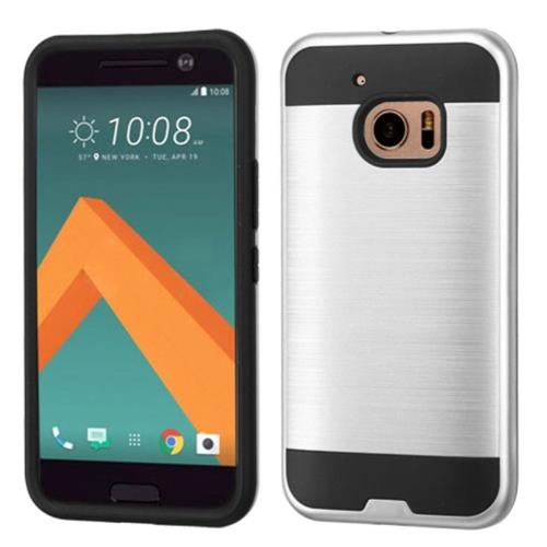 Insten Hard Hybrid Silicone Case For HTC One M10, Silver/Black