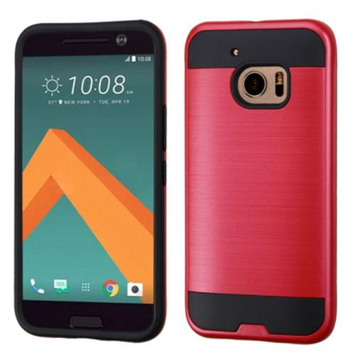 Insten Hard Dual Layer Rubber Silicone Cover Case For HTC One M10, Red/Black