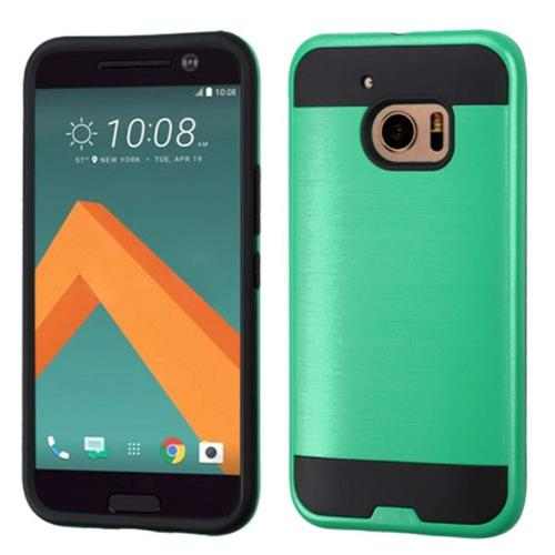 Insten Hard Dual Layer Rubber Coated Silicone Case For HTC One M10, Green/Black