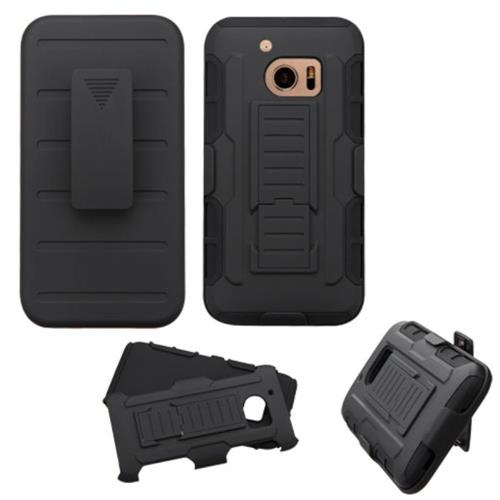Insten Car Armor Hard Dual Layer Plastic Silicone Case w/Holster For HTC One M10, Black