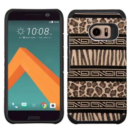 Insten Zebra Hard Dual Layer Rubber Silicone Case For HTC One M10, Brown/Black