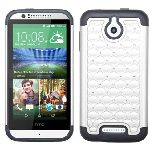 Insten Hard Dual Layer Rubber Coated Silicone Cover Case w/Diamond For HTC Desire 510, White/Black