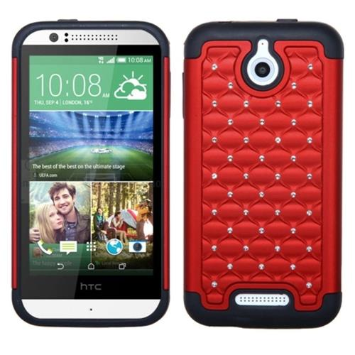 Insten Hard Hybrid Silicone Cover Case w/Diamond For HTC Desire 510, Red/Black