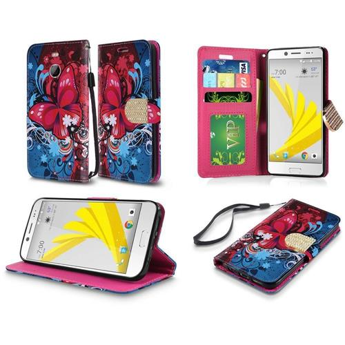 Insten Butterfly Bliss Folio Leather Fabric Case Lanyard w/stand For HTC 10 EVO / Bolt, Red/Blue