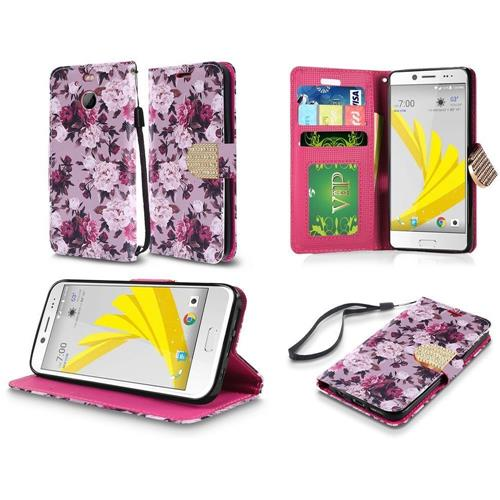 Insten Roses Book-Style Leather Fabric Case w/stand/card holder For HTC 10/Bolt, Purple/White
