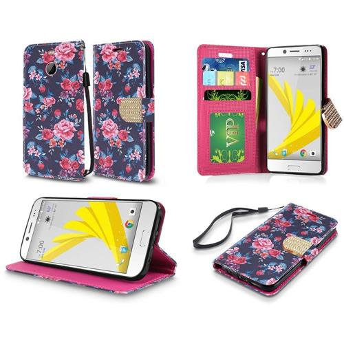Insten Roses Flip Leather Case w/stand/card slot/Photo Display/Diamond For HTC 10/Bolt, Green/Pink