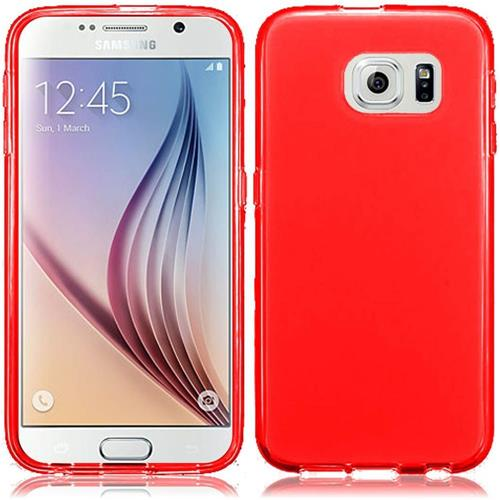 Insten Frosted Rubber Cover Case For Samsung Galaxy S6, Red