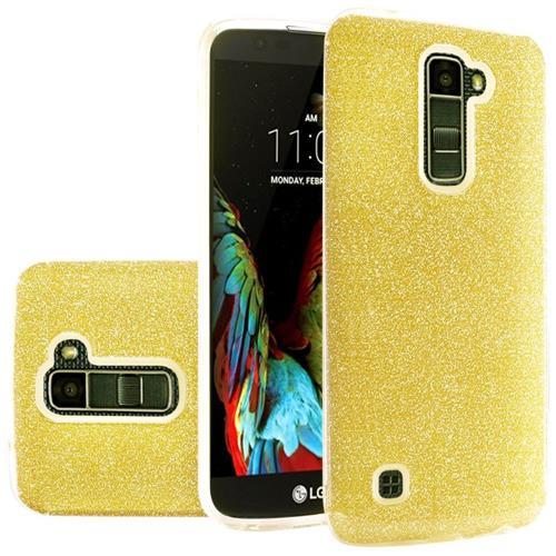 Insten Hard Hybrid Glitter TPU Cover Case For LG K10/Premier LTE, Gold