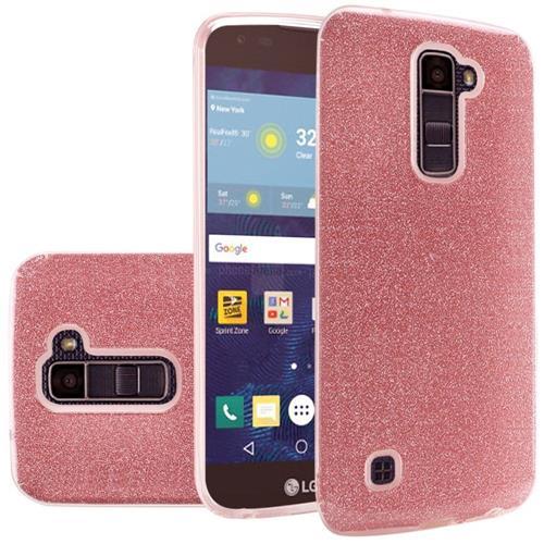 Insten Hard Hybrid Glitter TPU Cover Case For LG Escape 3/K7/K8/Phoenix 2/Treasure LTE, Red