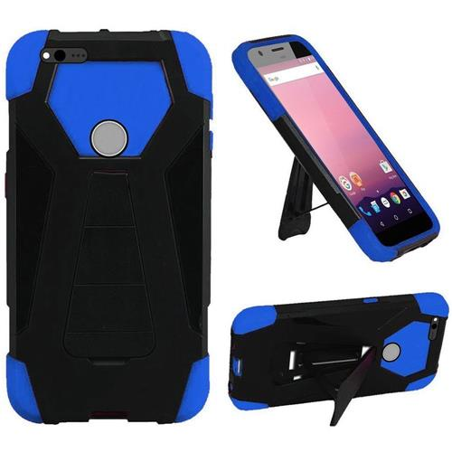 Insten Hard Dual Layer Silicone Case w/stand For Google Pixel, Black/Dark blue