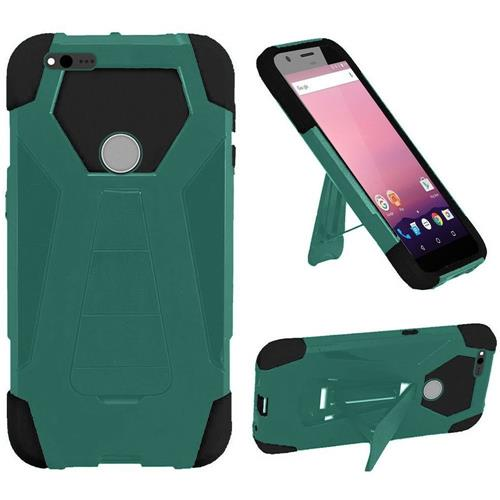 Insten Hard Hybrid Silicone Case w/stand For Google Pixel, Teal/Black