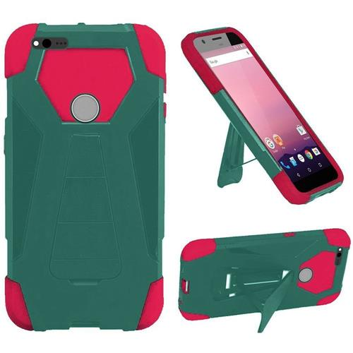 Insten Hard Hybrid Rubber Silicone Cover Case w/stand For Google Pixel, Teal/Hot Pink