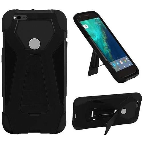 Insten Hard Dual Layer Plastic Silicone Cover Case w/stand For Google Pixel XL, Black