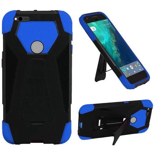 Insten Hard Hybrid Plastic Silicone Case w/stand For Google Pixel XL, Black/Blue