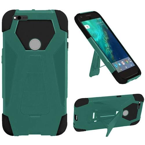 Insten Hard Dual Layer Plastic Silicone Case w/stand For Google Pixel XL, Teal/Black