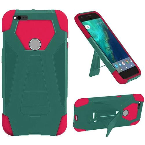 Insten Hard Dual Layer Plastic Silicone Case w/stand For Google Pixel XL, Teal/Hot Pink