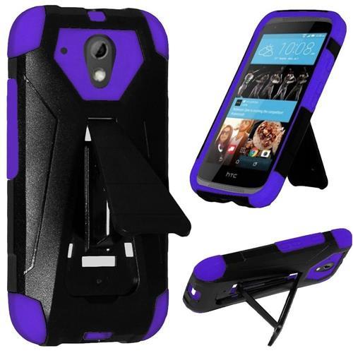 Insten Hard Hybrid Plastic Silicone Cover Case w/stand For HTC Desire 520, Black/Purple