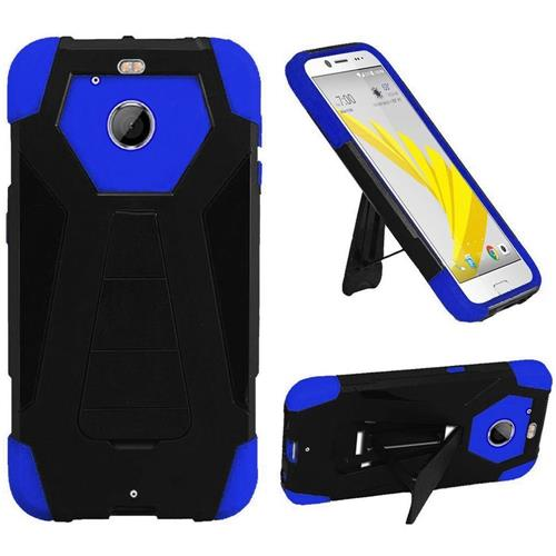 Insten Dual Layer Hybrid Stand PC/Silicone Case Cover For HTC 10 EVO / Bolt, Black/Blue