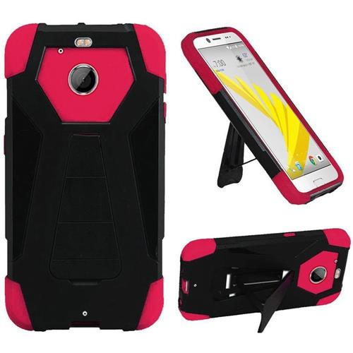 Insten Dual Layer Hybrid Stand PC/Silicone Case Cover For HTC 10 EVO / Bolt, Black/Hot Pink
