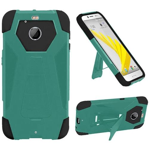 Insten Dual Layer Hybrid Stand PC/Silicone Case Cover For HTC 10 EVO / Bolt, Teal/Black
